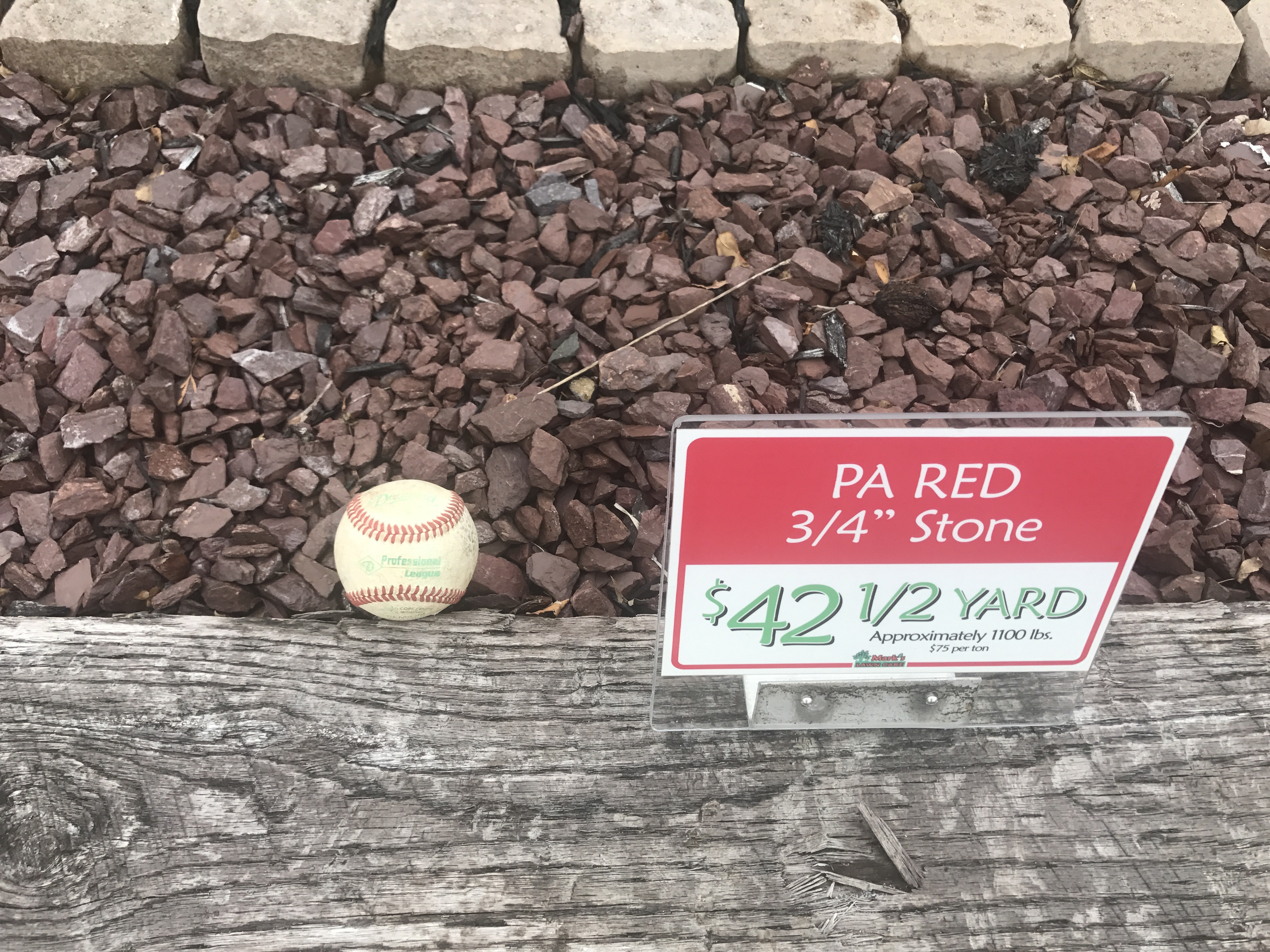 Pa red 3 4 stone per 1 2 yard or ton mark 39 s lawn care for Landscaping rocks by the ton